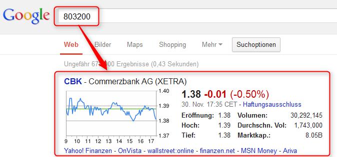 Google Börsenkurse in der Suche