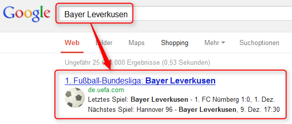 Google Fußball Ergebnis von Bayer Leverkusen