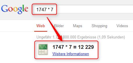Taschenrechner von Google.de