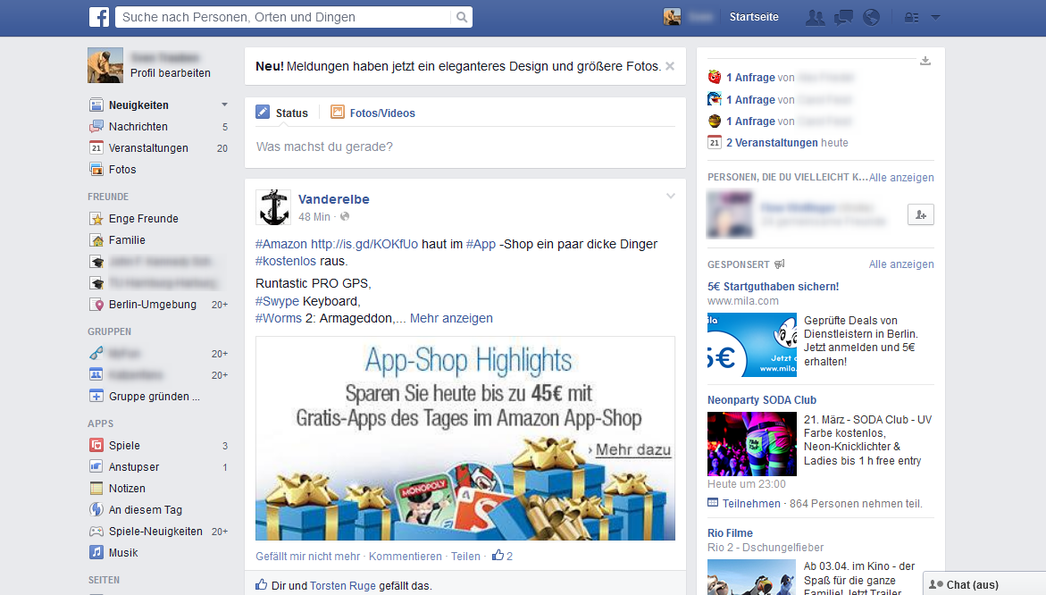 Neues Facebook Design 2014