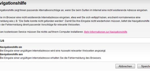 Telekom Navigationshilfe löschen