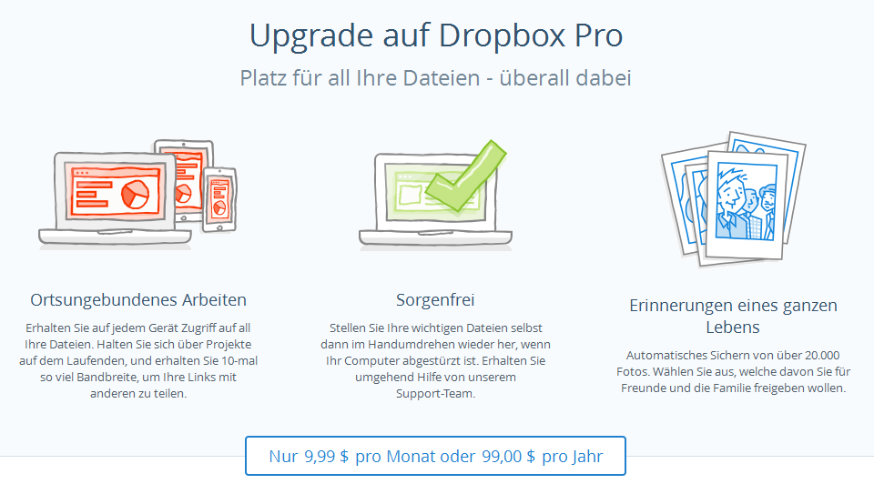 Upgrade Dropbox Pro