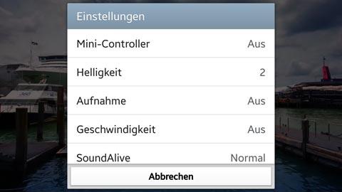 Galaxy S3: Videoscreenshot Einstellungen