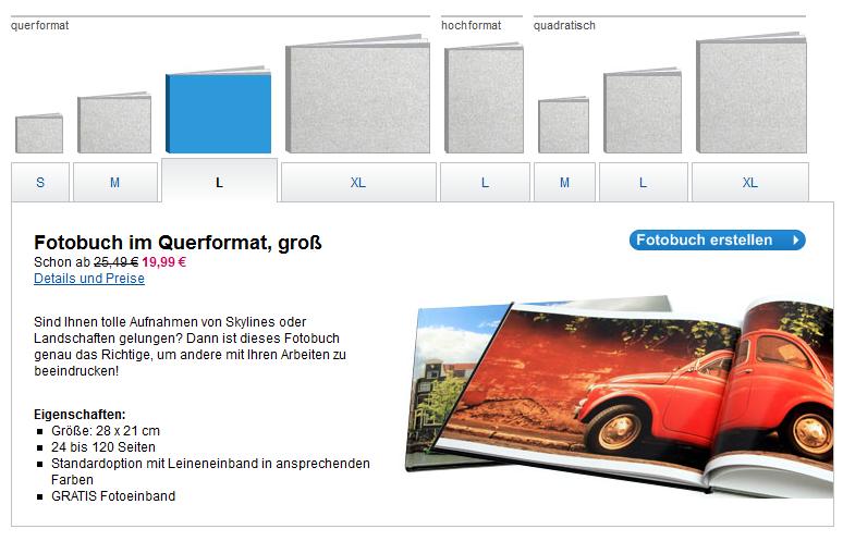 Vistaprint Formatsauswahl