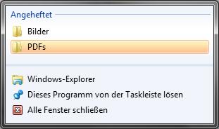 Angeheftete Ordner am Windows Explorer
