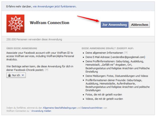 WolframAlpha-Anwendungskontrolle