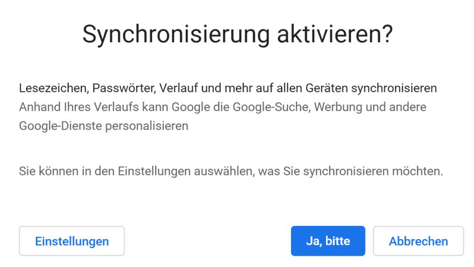 Google Synchronisierung aktivieren