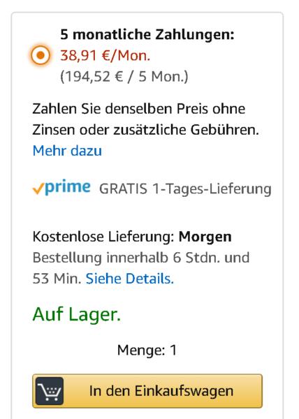 So sieht die Auswahl des Amazon Ratenkaufs aus