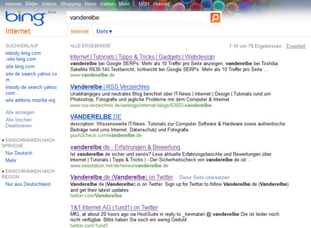 Screenshot der Suchmaschine Bing