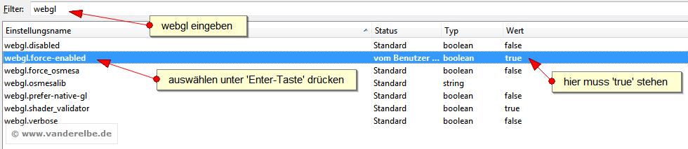 WebGL in Firefox 4 mit about:config Befehl aktivieren