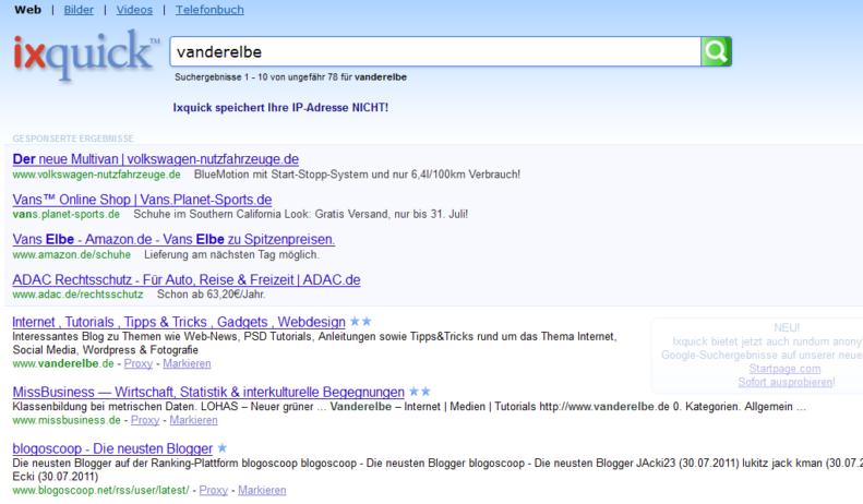 Screenshot von ixquick