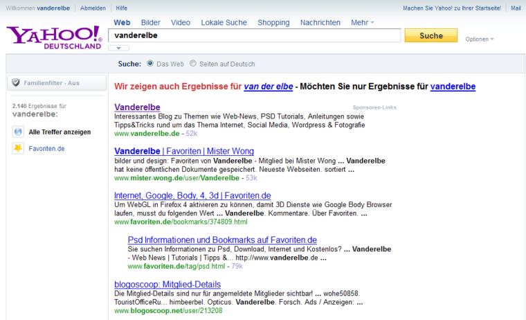 Screenshot der Suchmaschine Yahoo