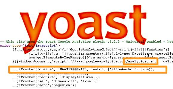 yoast Analytics Quellcode